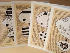 Blank PostCard set of 4 - Art Notecard Minerva - Handmade by Moha Hungarian artist. $10.00, via Etsy.