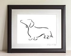 Daschund Art, Daschund Drawing, Sausage Dog, Dog Print, Gifts for Dog Lovers, Dog Art, Dog Wall Art, Animal Lover Presents,Daschund Print