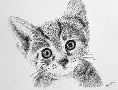 Mounted Giclee KITTEN Pointillism Print by MYDOTSHOP on Etsy, $40.00