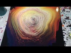 (8) Rainbow Ring Acrylic Pour on Large Canvas - YouTube