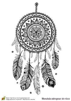 Coloriage d'un mandala attrape rêve tournesol - Hugolescargot.com