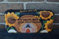 Items similar to 15001 Boo! Scarecrow Brick Pattern Oil Creek Originals on Etsy Painted Bricks Crafts, Brick Crafts, Brick Projects, Diy Projects, Painted Stepping Stones, Painted Pavers, Painted Rocks, Cement Pavers, Concrete Edging