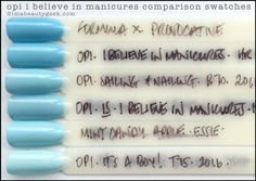 OPI I Believe in Manicures comparison swatches