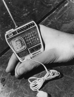 A watch, made by Driva Geneve of Switzerland, incorporating a TV, radio and calculator, 20th February 1976. The lead connects to a battery kept in the pocket.