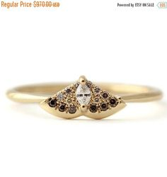 ON SALE Gold Moth Ring Diamond Moth Ring Alternative