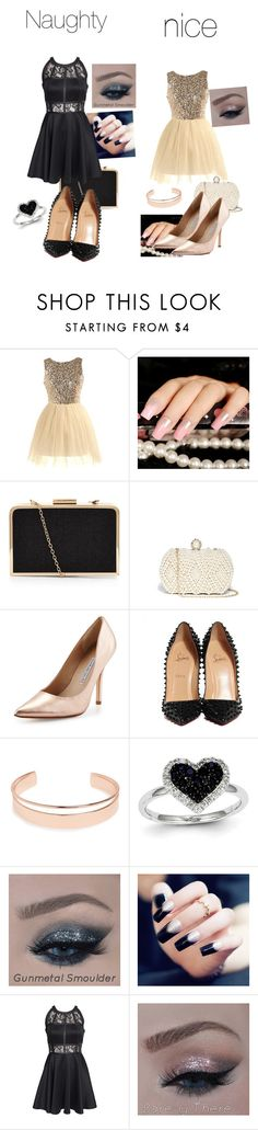 """""""Party style #NaughtyorNice"""" by gshopaholi ❤ liked on Polyvore featuring GUESS, Charles David, Christian Louboutin, Leith, Kevin Jewelers and AX Paris"""