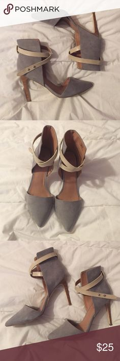 """Pointed Toe Heels Gray with a cream colored strap. Reposhing because they're just a tad too big on me. Pictures belong to original seller. 4"""" heel. JustFab Shoes Heels"""