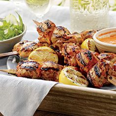 Buttermilk-and-Honey Chicken Kabobs  with Toasted Pecan Pesto or Romesco Sauce