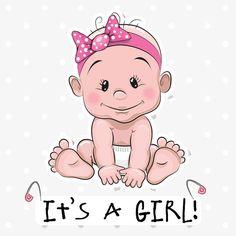 Cute baby girl cartoon - It's a Girl