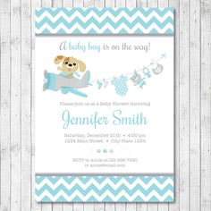 Modern girl puppy baby shower invitations puppy party pinterest puppy pilot baby shower invitation card blue grey boy digital printable file by filmwisefo