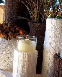 A simple upcycle tutorial on how to make Recycled Sweater Vases by Under the Table and Dreaming