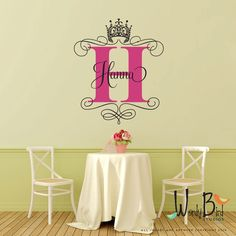 Crown Monogram Decal - Personalized - Vinyl Wall Decal Sticker Art, princess crown wall decal by wordybirdstudios on Etsy https://www.etsy.com/listing/216364858/crown-monogram-decal-personalized-vinyl
