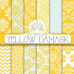 "Damask digital paper: ""YELLOW DAMASK"" with damask background, damask scrapbook paper, damask pattern, digital damask for scrapbooking, cards #damask #yellow #digitalpaper #scrapbookpaper #planner #partysupplies"
