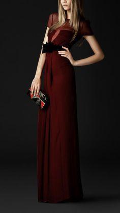 Sheer Detail Silk Evening Dress | Burberry