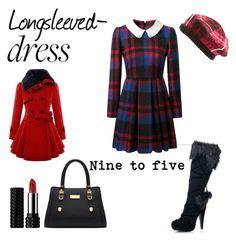 """#longsleevedress"" by ceridwen86 ❤ liked on Polyvore featuring Leg Avenue, Kat Von D, Kate Spade and longsleevedress"