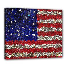 American Flag Mosaic Canvas 24  x 20  (Framed)