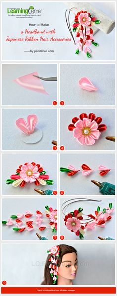 How to Make a Headband with Japanese Ribbon Hair Accessories from LC. - Jewelry Making Tutorials & Tips 2 - Ribbon Art, Diy Ribbon, Ribbon Crafts, Flower Crafts, Ribbon Flower, Ribbon Bows, Ribbons, Diy Japanese Hair Accessories, Japanese Jewelry