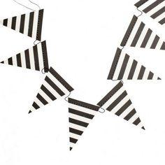 Black & White Stripe Pennant Banner