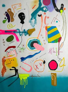 """Saatchi Art is pleased to offer the painting, """"C'est une certitude/ Forever Now 1.1,"""" by Cristian Armenta, available for purchase at $1,460 USD. Original Painting: Spray Paint, Acrylic, Pastel, Marker on Canvas. Size is 35.4 H x 27.6 W x 0 in. Spray Paint On Canvas, Canvas Size, Canvas Art, Saatchi Art, Original Paintings, Artwork Online, Joan Miro, Original Art For Sale, Buy Art"""
