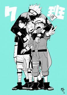 Anime: Naruto Personagens: Hatake Kakashi, Uchiha Sasuke, Haruno Sakura e Uzumaki Naruto Naruto And Sasuke, Anime Naruto, Naruto Team 7, Kakashi Sensei, Naruto Cute, Naruto Shippuden Anime, Sakura And Sasuke, Sakura Haruno, Manga Anime