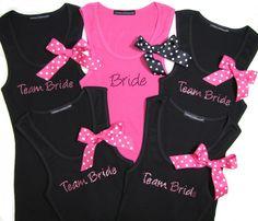 Set of 5 Polka Dot Bow Bridal Party Tank Tops - Bride Tank Top - Wedding Tank Tops - Wedding T-Shirts. $105.00, via Etsy.