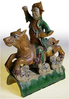 Antique Chinese Roof Tile of Wolf Rider Wolf Rider, Ridge Tiles, Roof Decoration, Vintage Tile, Roof Tiles, China Art, Chinese Ceramics, Chinese Antiques, Tile Art