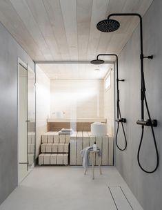 Dekolaku sauna & bathroom Bathroom inspiration from Deko Foto: Niclas Mäkelä Saunas, Bad Inspiration, Bathroom Inspiration, Style At Home, Sauna Design, Sauna Room, Tadelakt, Spa Rooms, Quirky Home Decor