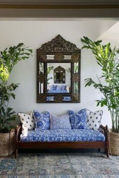 the mirror is even more pattern -- blue outdoor space  (at Meridian Manor -- one of numerous fresh air sitting terraces)
