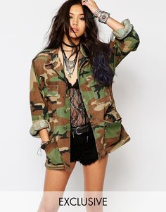 Buy Milk It Vintage Oversized Camo Jacket at ASOS. Get the latest trends with ASOS now. Military Jacket Outfits, Military Field Jacket, Camo Print Jacket, Camoflauge Jacket Outfit, Army Camo, Women's Camo, Pink Camo, Vintage Jacket, Jackets For Women
