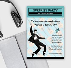 These fun birthday invitations feature Elvis Presley and a retro fifties/sixties design—ideal for someone celebrating a 40+ birthday and great for a surprise party. The color(s) of this invitation can be customized using the provided chart which can be found underneath the main product photo.  From this listing, you can either 1) Purchase a printable/digital 5 x 7 invitation file or 2) Pay a deposit for us to take care of the printing. Invitations are printed on 130 lb bright white ...