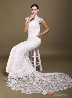 ハイネックバックレスホワイトマーメイドレースウエディングドレス