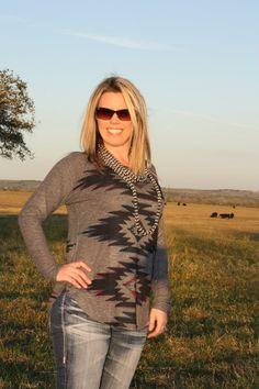 Charcoal Gray Tribal Long Sleeve Shirt | The TX Cowgirl