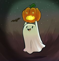 I dunno why, cause like Hallowen is known for the creepy, but I love the cute side of Halloween too. Cute Halloween Drawings, Photo Halloween, Halloween Vintage, Halloween Painting, Halloween Ghosts, Halloween Horror, Halloween Themes, Halloween Pumpkins, Halloween Crafts