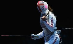 Behind the mask, Sophie Troiano of Great Britain celebrates a point against Eman Gaber of Egypt  in the Women's Foil Team Fencing round. Photograph: Hannah Johnston/Getty Images