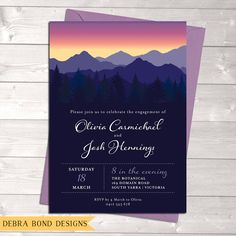 Engagement invitation, wedding invitation, mountains, trees, sunset sky, digital customised printable, Debra Bond Designs, debrabonddesigns