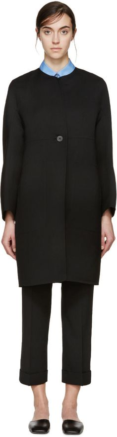 Image of Jil Sander Black Gabardine Collarless Coat
