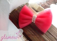 Hey, I found this really awesome Etsy listing at https://www.etsy.com/listing/181345045/coral-tulle-hair-bow-with-gold-sparkly