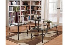 """The Liddy Tables from Ashley Furniture HomeStore (AFHS.com). The """"Liddy"""" accent table collection features a rich contemporary design that brings metal and glass together beautifully to create an exciting accent to look of any living room decor."""