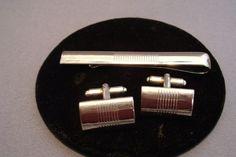 Vintage  Cufflinks Tie Clasp Set Rhodium Finish Mid Century Retro #Unknown