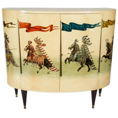 Painted Goatskin Bar Cabinet by Aldo Tura | From a unique collection of antique and modern dry bars at https://www.1stdibs.com/furniture/storage-case-pieces/dry-bars/