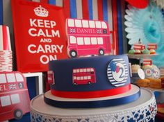 Red And Blue London Bus Birthday Party