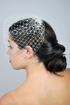 Ivory Bird Cage Veil in French Netting Half Face by MissFloraG