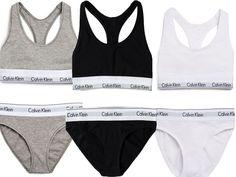Calvin Klein Womens Underwear Bralette Brief Set Racerback Grey Black | eBay