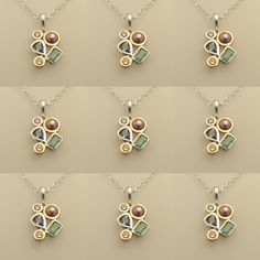 Customer Commission Alert, Pearl, Emerald, Sapphire, Diamond, silver with Gold Detailing pendant.