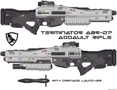 Terminator ABR-27 assault rifle with grenade launcher (sci-fi concept gun - futuristic weapon):