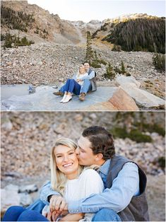 Fall Engagement Session - Outdoor - Red Lodge - Montana - Beartooth Pass - Engaged Couple - Fiancé - Man - Woman - Mountains - Trees - Snow - Rocks - Sitting - Kissing - Jeans - Jeggings - White Boots - White Sweater - Blue Denim Shirt - Carhartt Vest - Montana Wedding Photographer - Sara Nagel Photography