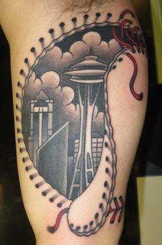 Thomas Graham, Super Genius Tattoo, Seattle WA, color tattoo, black and grey, Seattle tattoo, skin stitching