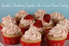 Sprinkles Strawberry Cupcakes with Cream Cheese Frosting