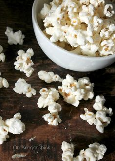 White Chocolate Popcorn- only 2 ingredients!  I'll be making this w/ my DIY White Choc Chips!!!