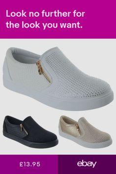a0e5184431 Ladies Womens Diamante Zip Up Flat Low Heel Trainers Skater Pumps Shoes Size